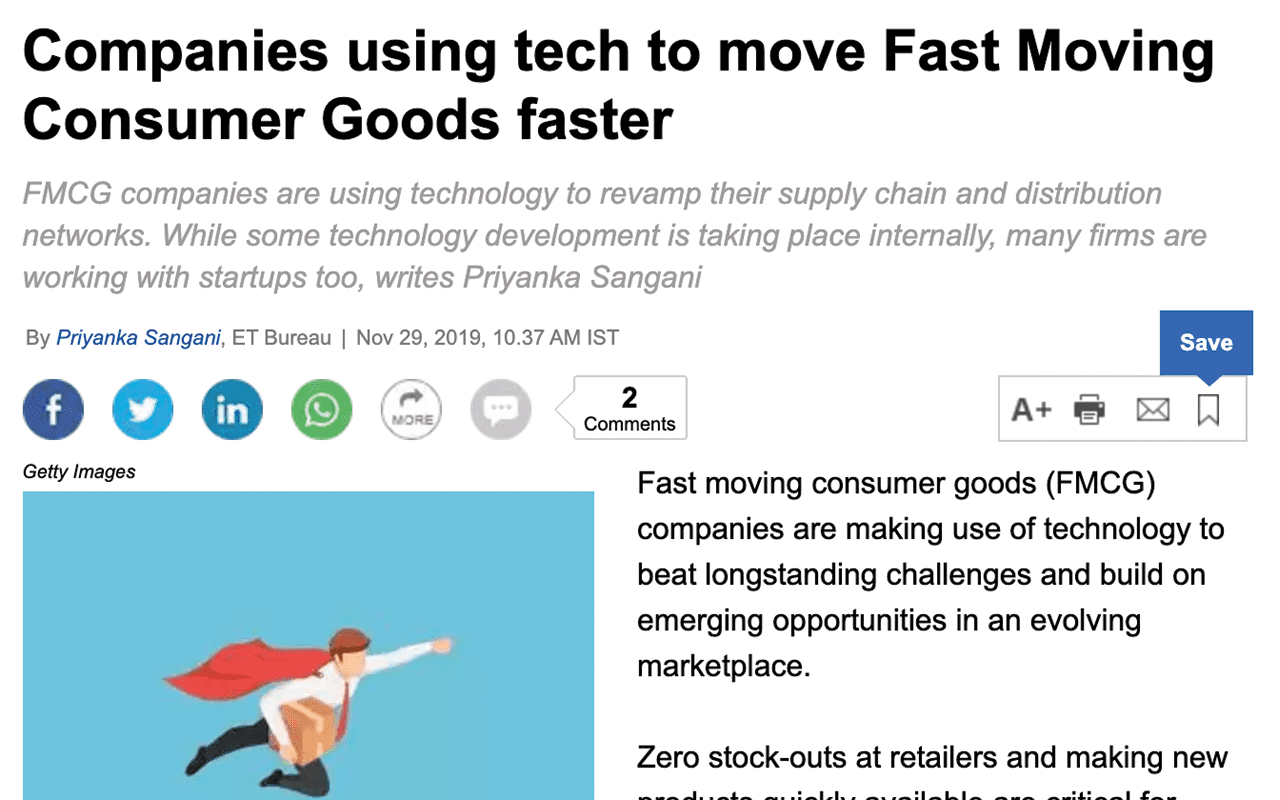 Companies using tech to move Fast Moving Consumer Goods faster